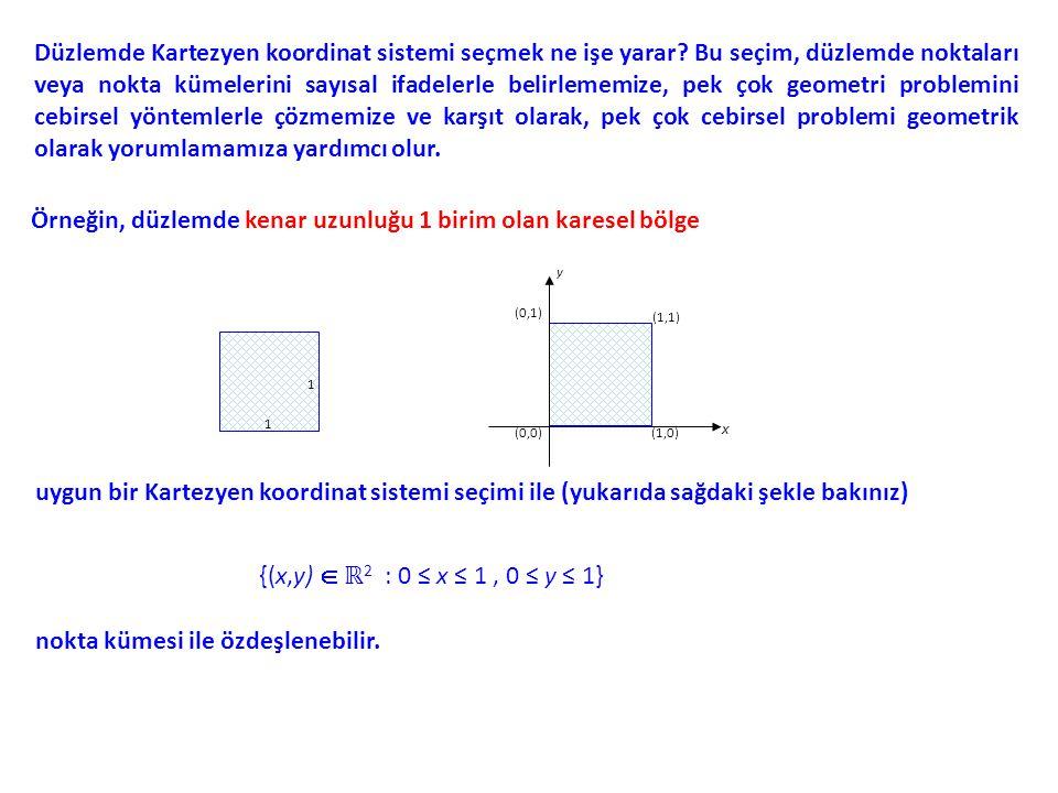 Düzlemde Kartezyen koordinat sistemi seçmek ne işe yarar? Bu seçim, düzlemde noktaları veya nokta kümelerini sayısal ifadelerle belirlememize, pek çok
