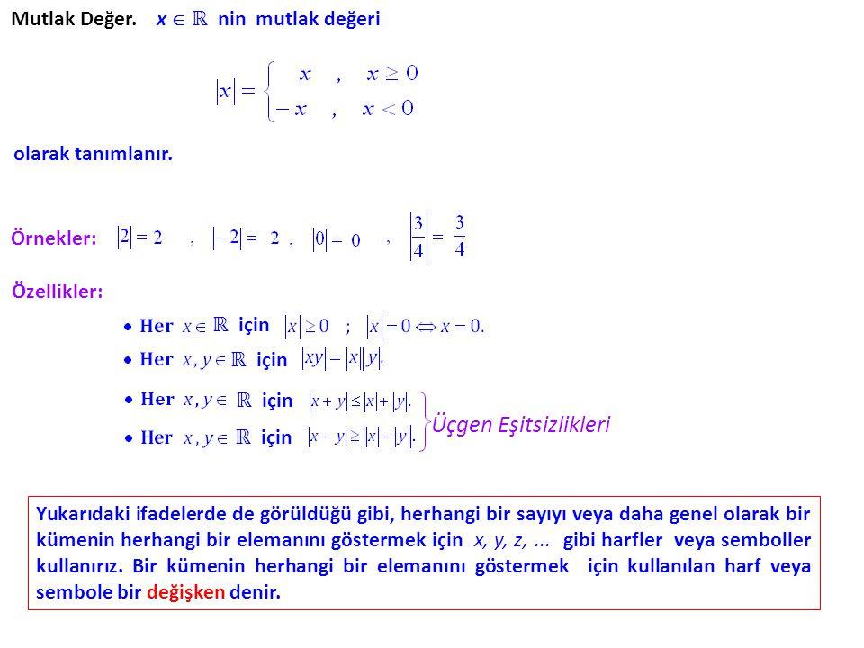 Mutlak Değer. x  ℝ nin mutlak değeri olarak tanımlanır. Örnekler: Özellikler: Üçgen Eşitsizlikleri Yukarıdaki ifadelerde de görüldüğü gibi, herhangi