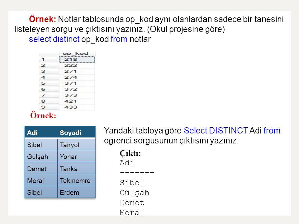 Örnek: Notlar tablosunda op_kod aynı olanlardan sadece bir tanesini listeleyen sorgu ve çıktısını yazınız. (Okul projesine göre) select distinct op_ko