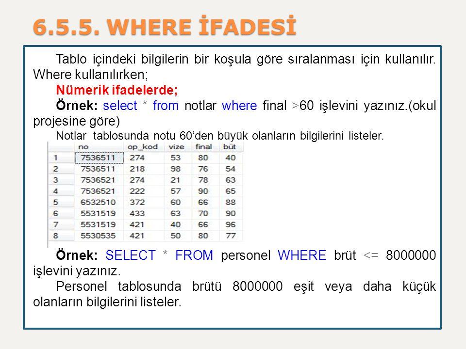 6.5.5. WHERE İFADESİ Tablo içindeki bilgilerin bir koşula göre sıralanması için kullanılır. Where kullanılırken; Nümerik ifadelerde; Örnek: select * f