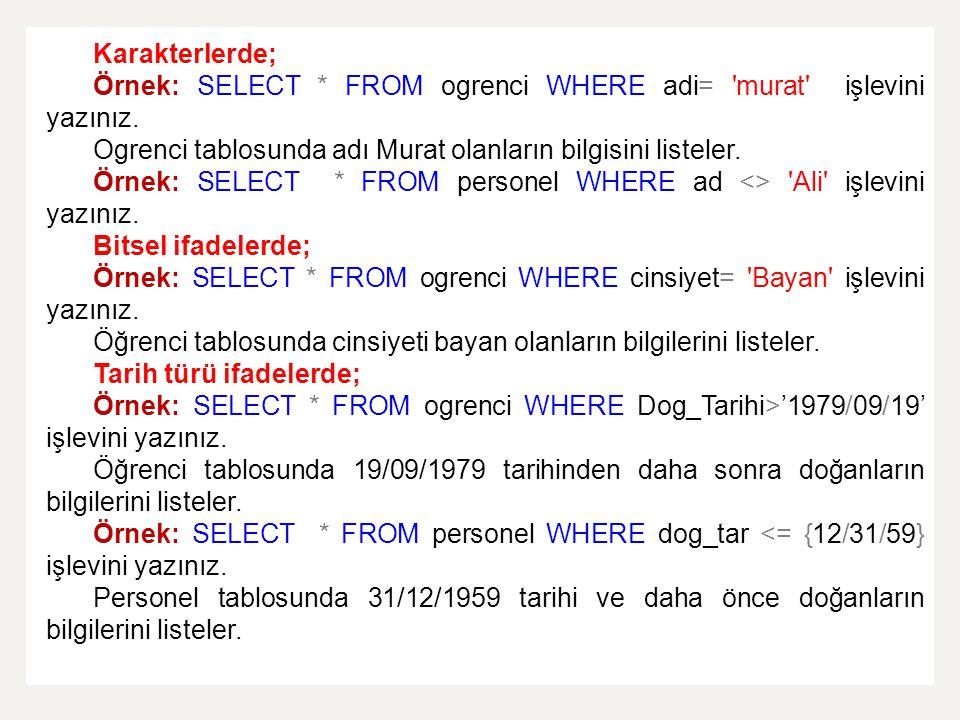 Karakterlerde; Örnek: SELECT * FROM ogrenci WHERE adi= 'murat' işlevini yazınız. Ogrenci tablosunda adı Murat olanların bilgisini listeler. Örnek: SEL