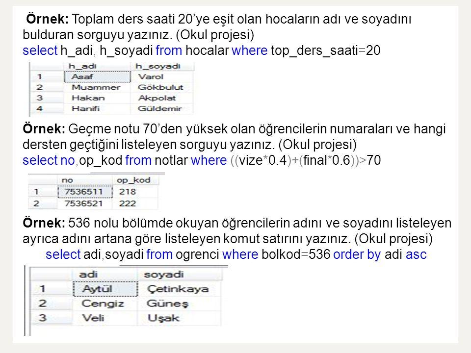Örnek: Toplam ders saati 20'ye eşit olan hocaların adı ve soyadını bulduran sorguyu yazınız. (Okul projesi) select h_adi, h_soyadi from hocalar where