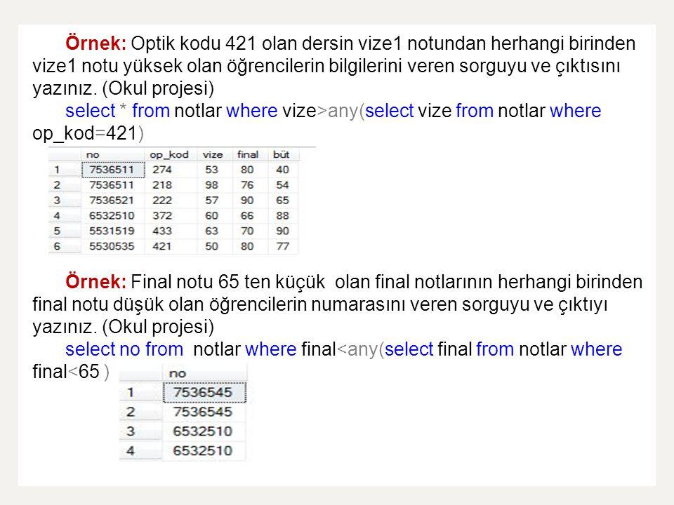 Örnek: Optik kodu 421 olan dersin vize1 notundan herhangi birinden vize1 notu yüksek olan öğrencilerin bilgilerini veren sorguyu ve çıktısını yazınız.