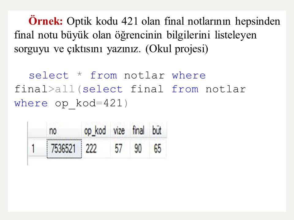 Örnek: Optik kodu 421 olan final notlarının hepsinden final notu büyük olan öğrencinin bilgilerini listeleyen sorguyu ve çıktısını yazınız. (Okul proj