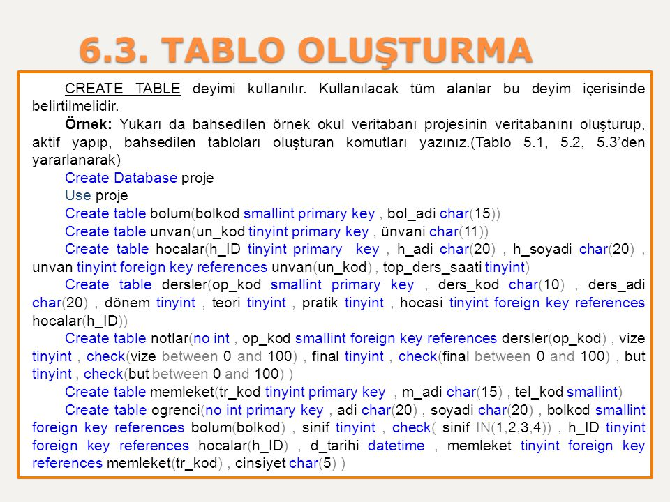6.3. TABLO OLUŞTURMA CREATE TABLE deyimi kullanılır. Kullanılacak tüm alanlar bu deyim içerisinde belirtilmelidir. Örnek: Yukarı da bahsedilen örnek o