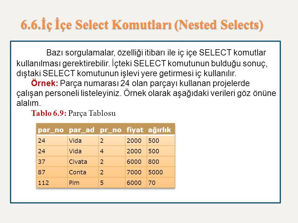 6.6.İç İçe Select Komutları (Nested Selects) Bazı sorgulamalar, özelliği itibarı ile iç içe SELECT komutlar kullanılması gerektirebilir. İçteki SELECT