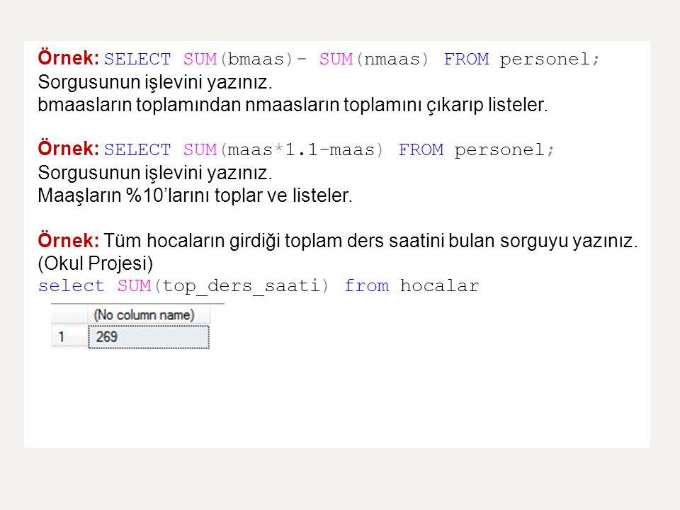 Örnek: SELECT SUM(bmaas)- SUM(nmaas) FROM personel; Sorgusunun işlevini yazınız. bmaasların toplamından nmaasların toplamını çıkarıp listeler. Örnek: