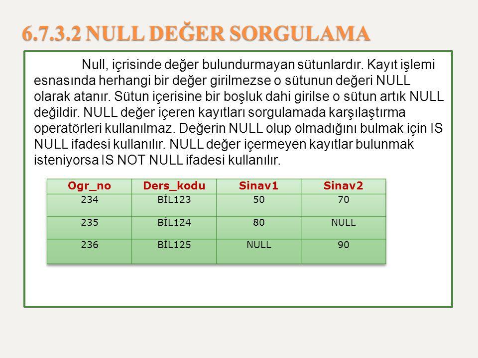 6.7.3.2 NULL DEĞER SORGULAMA Null, içrisinde değer bulundurmayan sütunlardır. Kayıt işlemi esnasında herhangi bir değer girilmezse o sütunun değeri NU
