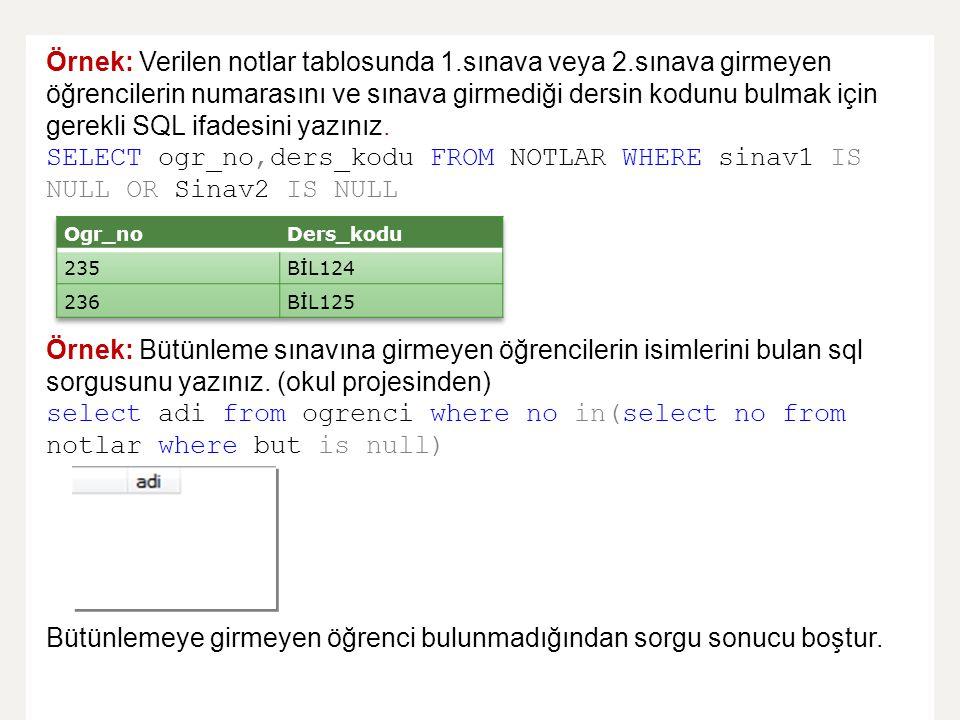 Örnek: Verilen notlar tablosunda 1.sınava veya 2.sınava girmeyen öğrencilerin numarasını ve sınava girmediği dersin kodunu bulmak için gerekli SQL ifa