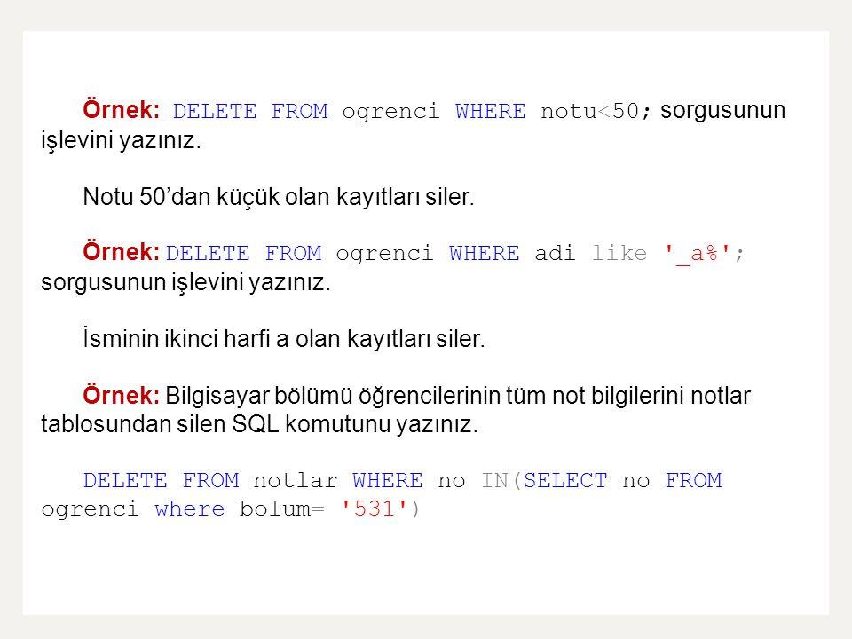 Örnek: DELETE FROM ogrenci WHERE notu<50; sorgusunun işlevini yazınız. Notu 50'dan küçük olan kayıtları siler. Örnek: DELETE FROM ogrenci WHERE adi li
