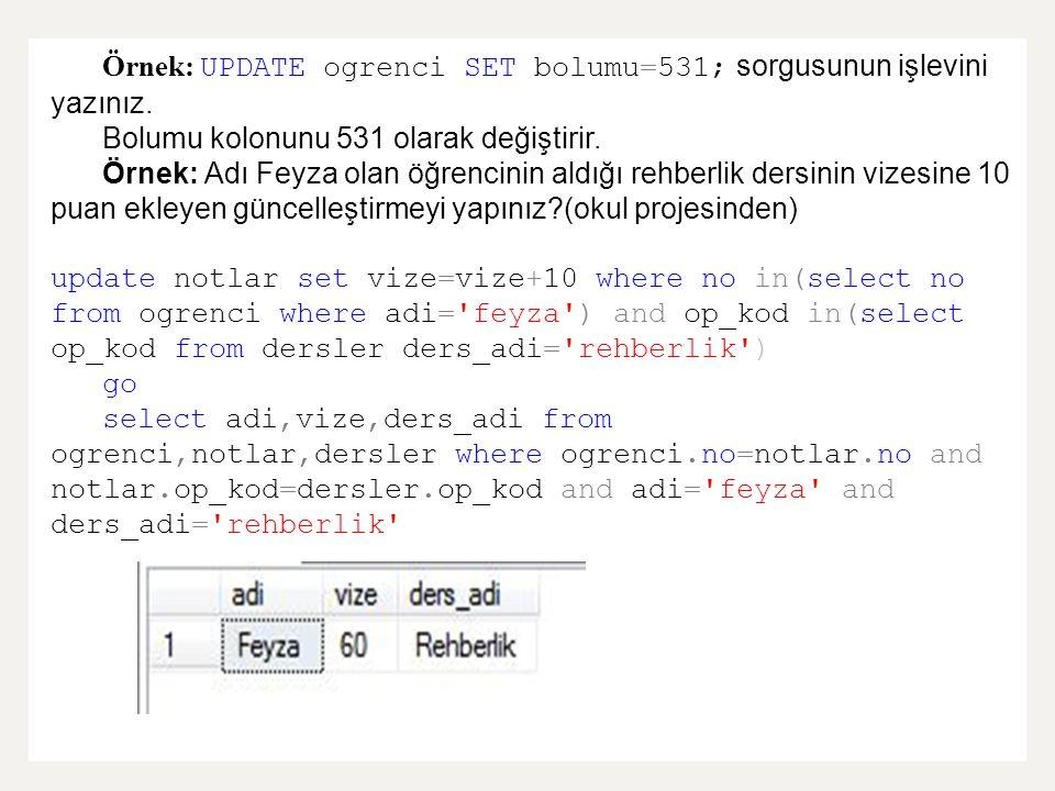 Örnek: UPDATE ogrenci SET bolumu=531; sorgusunun işlevini yazınız. Bolumu kolonunu 531 olarak değiştirir. Örnek: Adı Feyza olan öğrencinin aldığı rehb