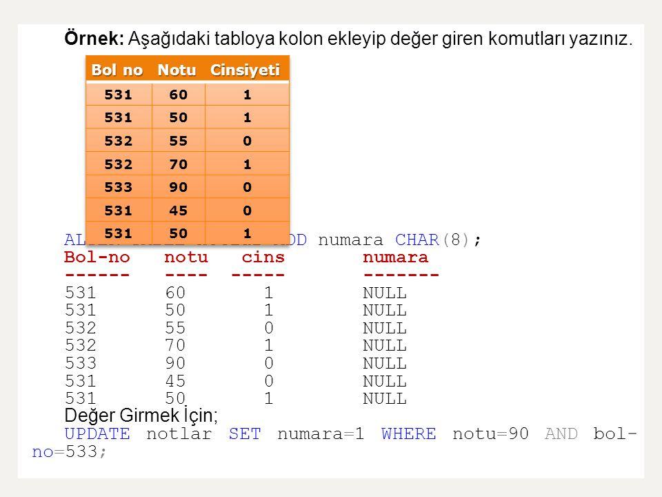 Örnek: Aşağıdaki tabloya kolon ekleyip değer giren komutları yazınız. ALTER TABLE notlar ADD numara CHAR(8); Bol-nonotu cins numara ---------- -------