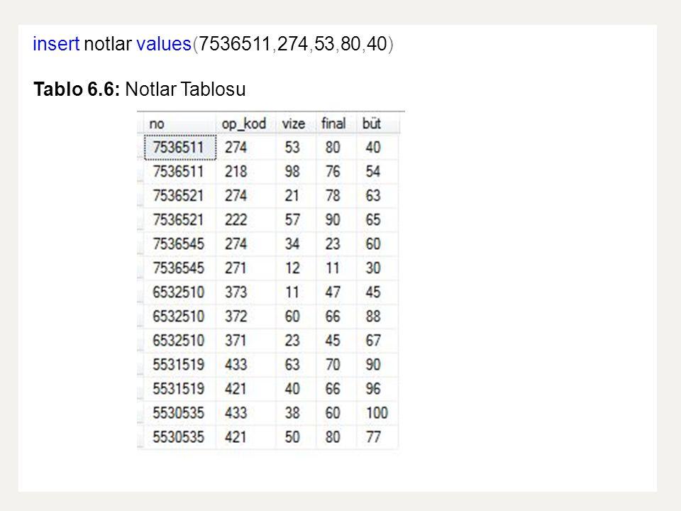 insert into ogrenci values(7536545, Cengiz , Güneş ,536,2,13, 04.11.1988 ,66, Erkek ) Tablo 6.7: Ogrenci Tablosu