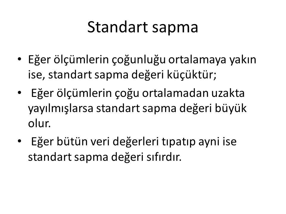 Standart sapma Eğer ölçümlerin çoğunluğu ortalamaya yakın ise, standart sapma değeri küçüktür; Eğer ölçümlerin çoğu ortalamadan uzakta yayılmışlarsa standart sapma değeri büyük olur.
