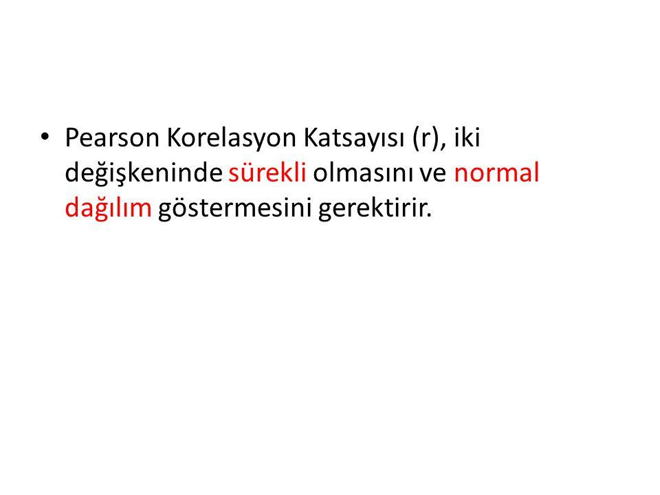 Pearson Korelasyon Katsayısı (r), iki değişkeninde sürekli olmasını ve normal dağılım göstermesini gerektirir.