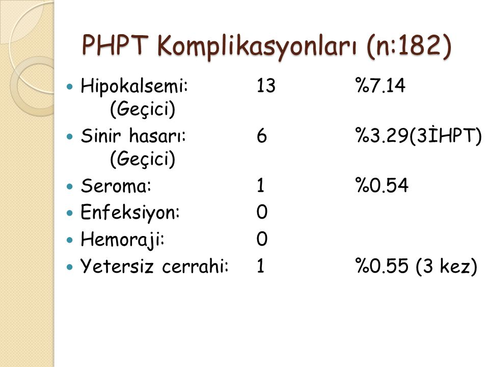 PHPT Komplikasyonları (n:182) Hipokalsemi:13%7.14 (Geçici) Sinir hasarı:6%3.29(3İHPT) (Geçici) Seroma:1%0.54 Enfeksiyon:0 Hemoraji:0 Yetersiz cerrahi: