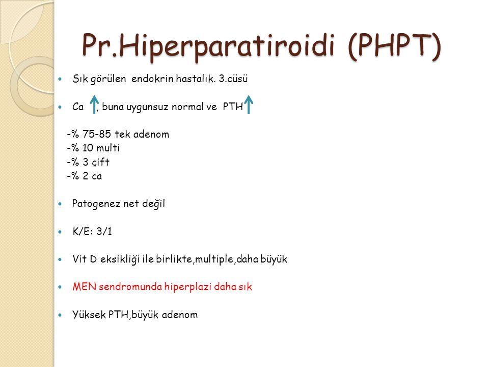 Pr.Hiperparatiroidi (PHPT) Sık görülen endokrin hastalık. 3.cüsü Ca, buna uygunsuz normal ve PTH -% 75-85 tek adenom -% 10 multi -% 3 çift -% 2 ca Pat