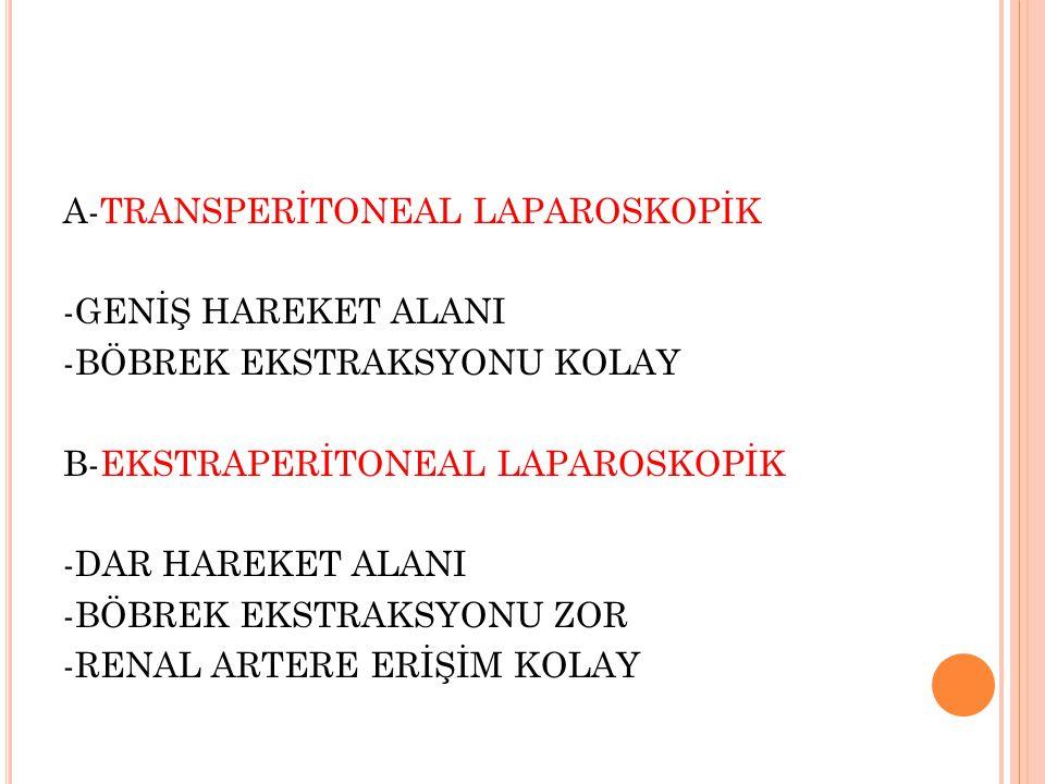 A-TRANSPERİTONEAL LAPAROSKOPİK -GENİŞ HAREKET ALANI -BÖBREK EKSTRAKSYONU KOLAY B-EKSTRAPERİTONEAL LAPAROSKOPİK -DAR HAREKET ALANI -BÖBREK EKSTRAKSYONU