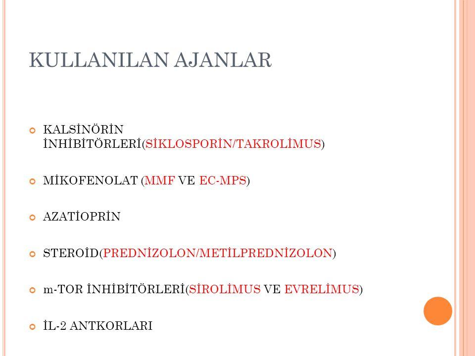 KULLANILAN AJANLAR KALSİNÖRİN İNHİBİTÖRLERİ(SİKLOSPORİN/TAKROLİMUS) MİKOFENOLAT (MMF VE EC-MPS) AZATİOPRİN STEROİD(PREDNİZOLON/METİLPREDNİZOLON) m-TOR