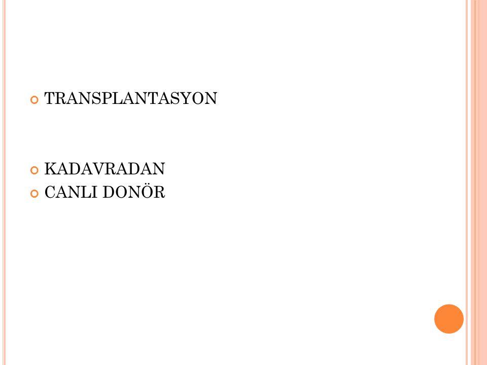 TRANSPLANTASYON KADAVRADAN CANLI DONÖR