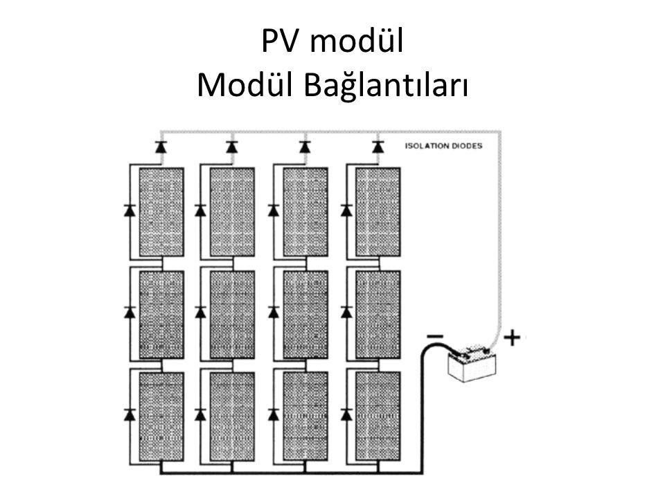 PV Modül Üretim Maddeleri Hücre maddesiModül verimliliği1kwp için gerekli modül alanı Mono kristal silikon11-16 %7-9 Metrekare Polikristal silikon10-14 %8-9 Metrekare İnce tabaka6-8 %11-13 Metrekare Amorf silikon4-7 %16-20 Metrekare En yaygın olarak silikon maddeler kullanılır.