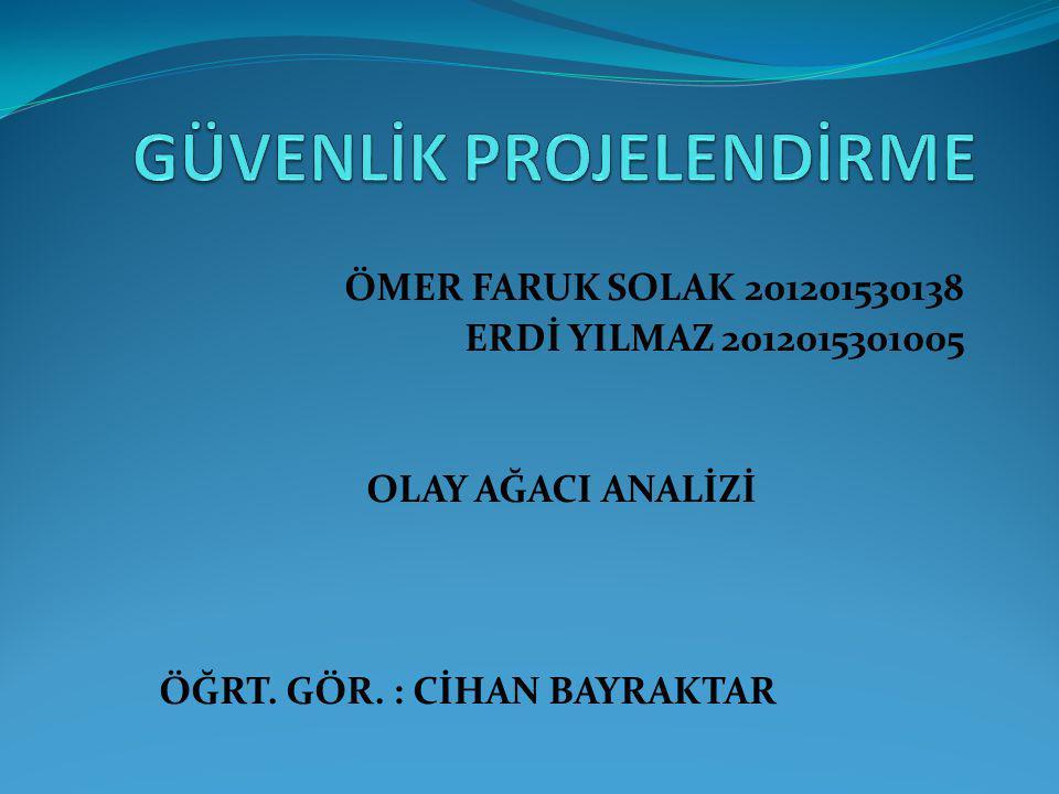 ÖMER FARUK SOLAK 201201530138 ERDİ YILMAZ 2012015301005 OLAY AĞACI ANALİZİ ÖĞRT.
