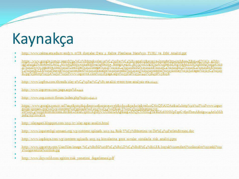 Kaynakça http://www.caktas.etu.edu.tr/end371_trTR_dosyalar/Ders_3_Kalite_Planlama_Hata%20_TURU_ve_Etki_Analizi.ppt https://www.google.com.tr/search?q=%C3%B6rnek+olay+a%C4%9Fac%C4%B1+analizi&source=lnms&tbm=isch&sa=X&ei=aEWsUr_gIMv- ygP4t4LgDw&ved=0CAcQ_AUoAQ&biw=1024&bih=474#facrc=_&imgrc=qyE_dyVUvoEOgM%3A%3BanbZM9WkAnZllM%3Bhttp%253A%25 2F%252Fwww.isgcevre.com%252FUserFiles%252Fimage%252F%2525C4%2525B0SG%252520B%2525C4%2525B0LD%2525C4%2525B0R%2525 C4%2525B0LER%252Fbuyuk%252520endsrtl%252520kazalrn%252520sekil%2525203%252520sistmn%252520olay%252520agac%2525C4%2525 B1.jpg%3Bhttp%253A%252F%252Fwww.isgcevre.com%252Fpage.aspx%253Fid%253D442%3B458%3B298 https://www.google.com.tr/search?q=%C3%B6rnek+olay+a%C4%9Fac%C4%B1+analizi&source=lnms&tbm=isch&sa=X&ei=aEWsUr_gIMv- ygP4t4LgDw&ved=0CAcQ_AUoAQ&biw=1024&bih=474#facrc=_&imgrc=qyE_dyVUvoEOgM%3A%3BanbZM9WkAnZllM%3Bhttp%253A%25 2F%252Fwww.isgcevre.com%252FUserFiles%252Fimage%252F%2525C4%2525B0SG%252520B%2525C4%2525B0LD%2525C4%2525B0R%2525 C4%2525B0LER%252Fbuyuk%252520endsrtl%252520kazalrn%252520sekil%2525203%252520sistmn%252520olay%252520agac%2525C4%2525 B1.jpg%3Bhttp%253A%252F%252Fwww.isgcevre.com%252Fpage.aspx%253Fid%253D442%3B458%3B298 http://www.isgfrm.com/threads/olay-a%C4%9Fac%C4%B1-analizi-event-tree-analysis-eta.2249/ http://www.isgcevre.com/page.aspx?id=442 http://www.osg.com.tr/forum/index.php?topic=941.0 https://www.google.com.tr/url?sa=t&rct=j&q=&esrc=s&source=web&cd=19&cad=rja&ved=0CH0QFjAIOAo&url=http%3A%2F%2Fwww.isguv enligi-uzmani.org%2Fwp-content%2Fuploads%2F2012%2F04%2FRisk-Y%25C3%25B6netimi-ve- De%25C4%259Ferlendirmesi.doc&ei=FkusUqmwAqSBywODmoGAAg&usg=AFQjCNHMLgYkRGX16HHMpTqoCvf9oFhecA&sig2=14Anl2Mih 3u647o3YnwaYA https://www.google.com.tr/url?sa=t&rct=j&q=&esrc=s&source=web&cd=19&cad=rja&ved=0CH0QFjAIOAo&url=http%3A%2F%2Fwww.isguv enligi-uzmani.org%2Fwp-content%2Fuploads%2F2012%2F04%2FRisk-Y%25C3%25B6netimi-ve- De%25C4%259Ferlendirmesi.doc&ei=FkusUqmwAqSBywODmoGAAg&usg=AFQjCNHMLgYkRGX16HHMpTqoCvf9oFhecA&