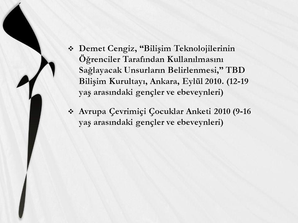  Demet Cengiz, Bilişim Teknolojilerinin Öğrenciler Tarafından Kullanılmasını Sağlayacak Unsurların Belirlenmesi, TBD Bilişim Kurultayı, Ankara, Eylül 2010.