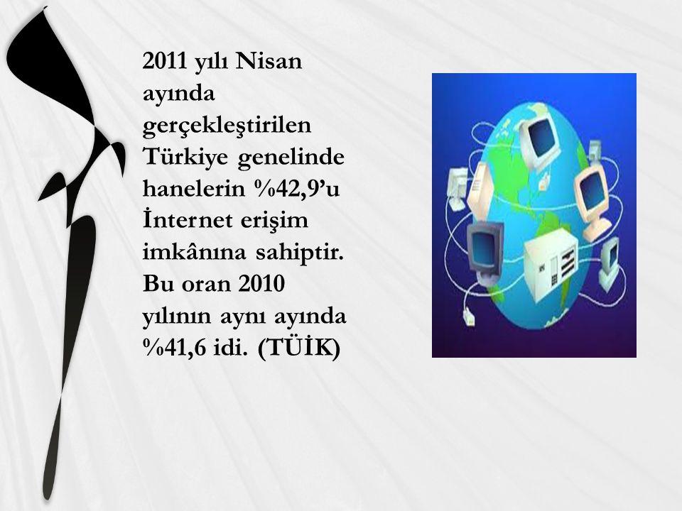 2011 yılı Nisan ayında gerçekleştirilen Türkiye genelinde hanelerin %42,9'u İnternet erişim imkânına sahiptir.