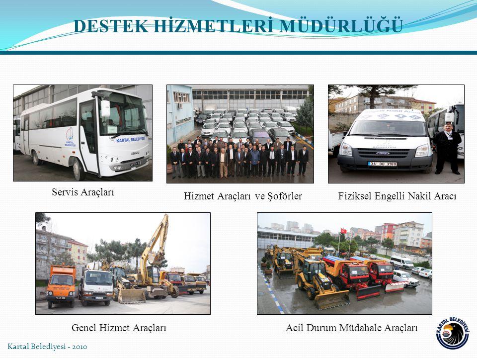 Kartal Belediyesi - 2010 Sağlık Tarama Hizmet OtobüsüYakıt TankeriSulama Tankeri Damperli / Tonajlı Yük KamyonuÇekici / Kurtarıcı Kamyon DESTEK HİZMETLERİ MÜDÜRLÜĞÜ