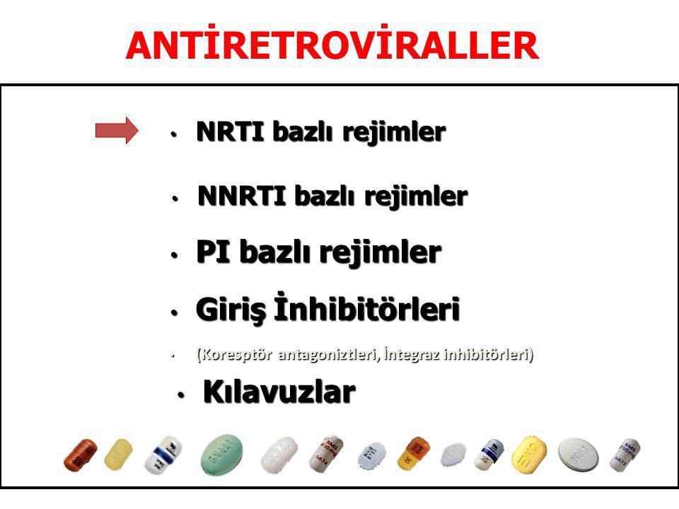 ANTİRETROVİRALLER NRTI bazlı rejimler NRTI bazlı rejimler Giriş İnhibitörleri Giriş İnhibitörleri (Koresptör antagoniztleri, İntegraz inhibitörleri) (Koresptör antagoniztleri, İntegraz inhibitörleri) Kılavuzlar Kılavuzlar PI bazlı rejimler PI bazlı rejimler NNRTI bazlı rejimler NNRTI bazlı rejimler