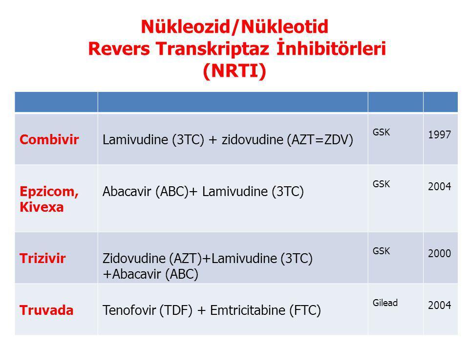Nükleozid/Nükleotid Revers Transkriptaz İnhibitörleri (NRTI) CombivirLamivudine (3TC) + zidovudine (AZT=ZDV) GSK 1997 Epzicom, Kivexa Abacavir (ABC)+ Lamivudine (3TC) GSK 2004 TrizivirZidovudine (AZT)+Lamivudine (3TC) +Abacavir (ABC) GSK 2000 TruvadaTenofovir (TDF) + Emtricitabine (FTC) Gilead 2004