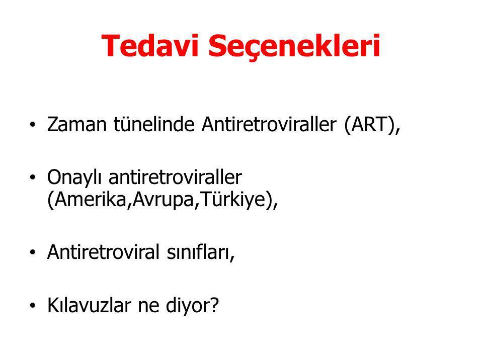 Tedavi Seçenekleri Zaman tünelinde Antiretroviraller (ART), Onaylı antiretroviraller (Amerika,Avrupa,Türkiye), Antiretroviral sınıfları, Kılavuzlar ne diyor?