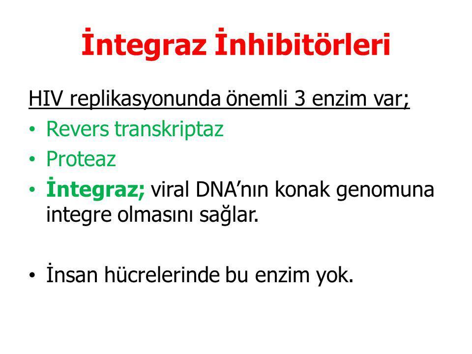 İntegraz İnhibitörleri HIV replikasyonunda önemli 3 enzim var; Revers transkriptaz Proteaz İntegraz; viral DNA'nın konak genomuna integre olmasını sağlar.