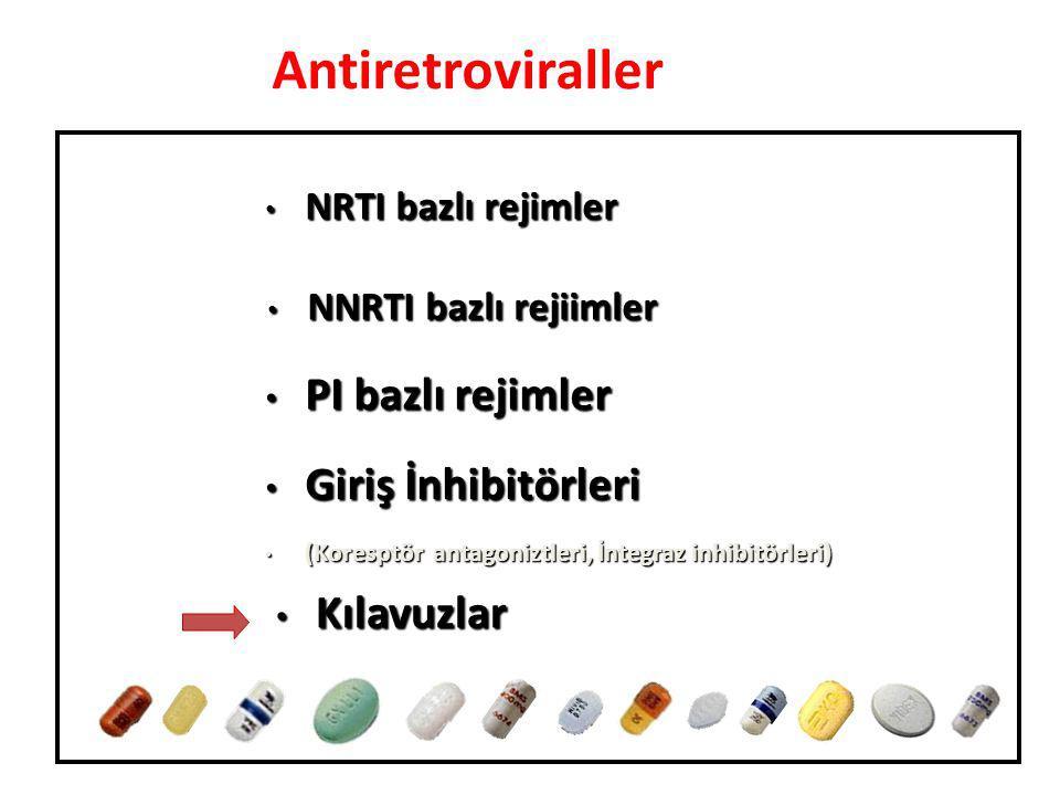 Antiretroviraller NRTI bazlı rejimler NRTI bazlı rejimler Giriş İnhibitörleri Giriş İnhibitörleri (Koresptör antagoniztleri, İntegraz inhibitörleri) (Koresptör antagoniztleri, İntegraz inhibitörleri) Kılavuzlar Kılavuzlar PI bazlı rejimler PI bazlı rejimler NNRTI bazlı rejiimler NNRTI bazlı rejiimler