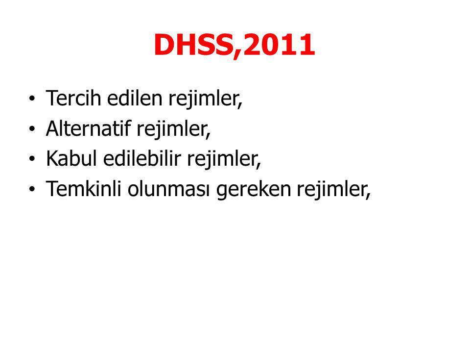 DHSS,2011 Tercih edilen rejimler, Alternatif rejimler, Kabul edilebilir rejimler, Temkinli olunması gereken rejimler,