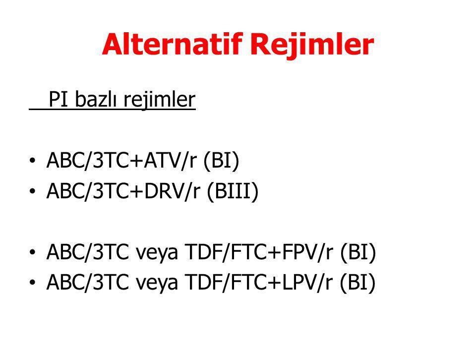 Alternatif Rejimler PI bazlı rejimler ABC/3TC+ATV/r (BI) ABC/3TC+DRV/r (BIII) ABC/3TC veya TDF/FTC+FPV/r (BI) ABC/3TC veya TDF/FTC+LPV/r (BI)