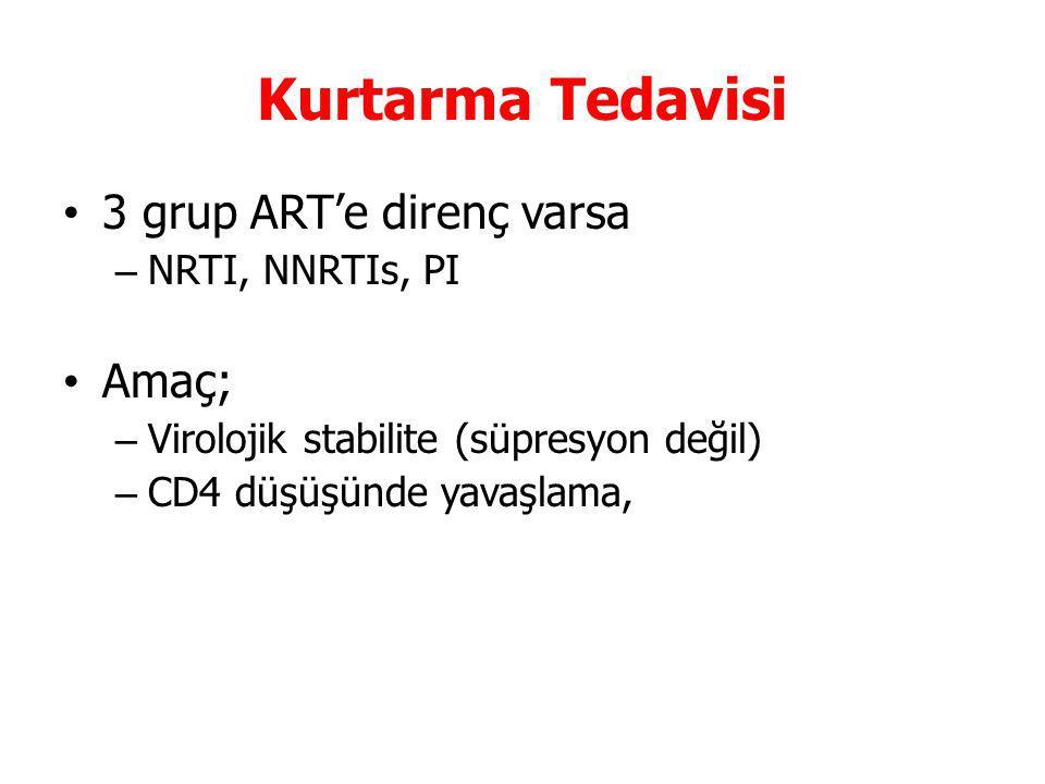 Kurtarma Tedavisi 3 grup ART'e direnç varsa – NRTI, NNRTIs, PI Amaç; – Virolojik stabilite (süpresyon değil) – CD4 düşüşünde yavaşlama,