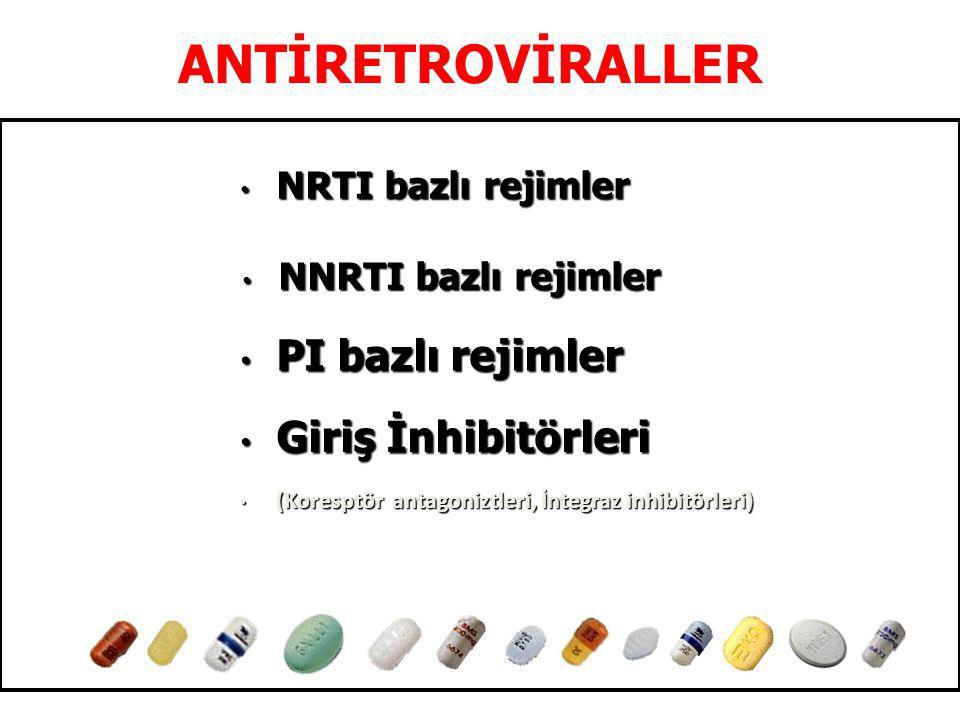 ANTİRETROVİRALLER NRTI bazlı rejimler NRTI bazlı rejimler Giriş İnhibitörleri Giriş İnhibitörleri (Koresptör antagoniztleri, İntegraz inhibitörleri) (Koresptör antagoniztleri, İntegraz inhibitörleri) PI bazlı rejimler PI bazlı rejimler NNRTI bazlı rejimler NNRTI bazlı rejimler