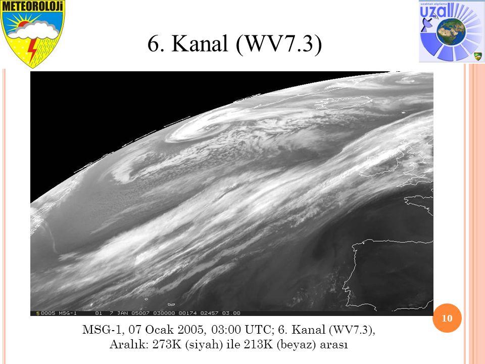 10 6. Kanal (WV7.3) MSG-1, 07 Ocak 2005, 03:00 UTC; 6. Kanal (WV7.3), Aralık: 273K (siyah) ile 213K (beyaz) arası