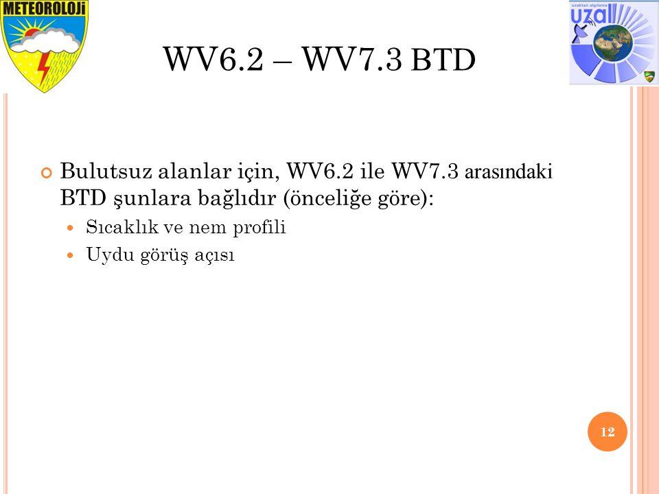 Bulutsuz alanlar için, WV6.2 ile WV7.3 arasındaki BTD şunlara bağlıdır (önceliğe göre): Sıcaklık ve nem profili Uydu görüş açısı 12 WV6.2 – WV7.3 BTD