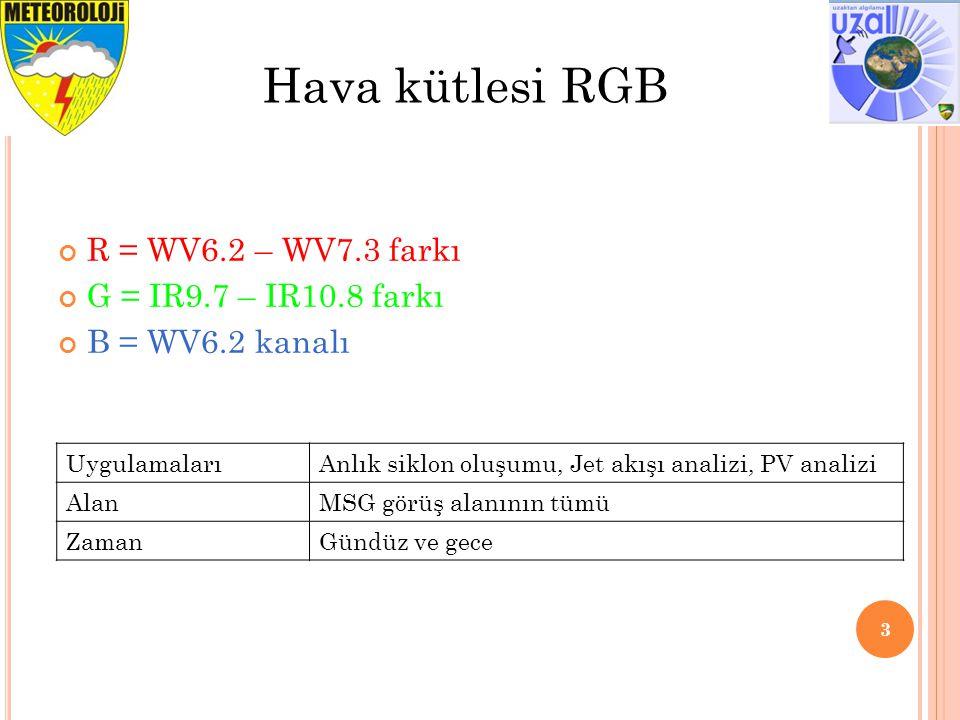 R = WV6.2 – WV7.3 farkı G = IR9.7 – IR10.8 farkı B = WV6.2 kanalı 3 Hava kütlesi RGB UygulamalarıAnlık siklon oluşumu, Jet akışı analizi, PV analizi A