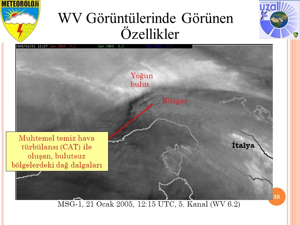 38 WV Görüntülerinde Görünen Özellikler Yoğun bulut Rüzgar Muhtemel temiz hava türbülansı (CAT) ile oluşan, bulutsuz bölgelerdeki dağ dalgaları İtalya MSG-1, 21 Ocak 2005, 12:15 UTC, 5.