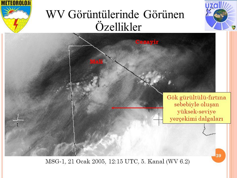 39 WV Görüntülerinde Görünen Özellikler Gök gürültülü-fırtına sebebiyle oluşan yüksek-seviye yerçekimi dalgaları Cezayir Mali MSG-1, 21 Ocak 2005, 12:15 UTC, 5.