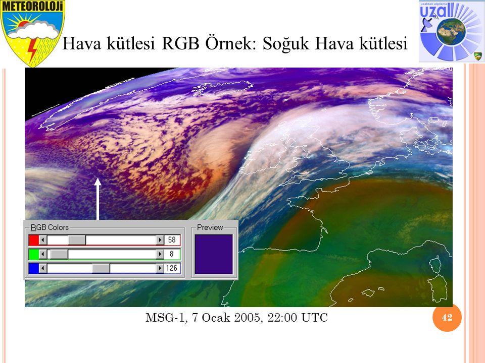 Tavsiye edilen aralık ve İyileştirme 42 Hava kütlesi RGB Örnek: Soğuk Hava kütlesi MSG-1, 7 Ocak 2005, 22:00 UTC