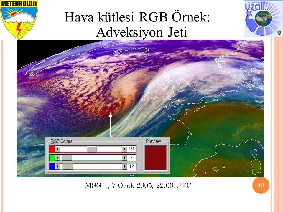 Tavsiye edilen aralık ve İyileştirme 43 Hava kütlesi RGB Örnek: Adveksiyon Jeti MSG-1, 7 Ocak 2005, 22:00 UTC