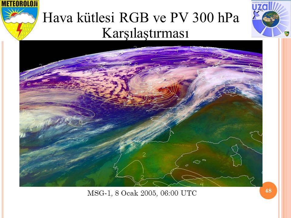 48 Hava kütlesi RGB ve PV 300 hPa Karşılaştırması MSG-1, 8 Ocak 2005, 06:00 UTC