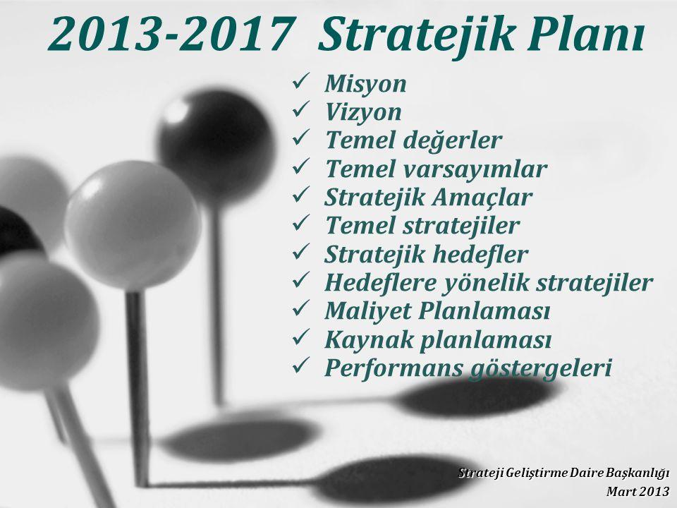 2013-2017 Stratejik Planı Strateji Geliştirme Daire Başkanlığı Mart 2013 Misyon Vizyon Temel değerler Temel varsayımlar Stratejik Amaçlar Temel stratejiler Stratejik hedefler Hedeflere yönelik stratejiler Maliyet Planlaması Kaynak planlaması Performans göstergeleri
