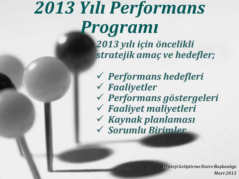 2013 Yılı Performans Programı Strateji Geliştirme Daire Başkanlığı Mart 2013 2013 yılı için öncelikli stratejik amaç ve hedefler; Performans hedefleri Faaliyetler Performans göstergeleri Faaliyet maliyetleri Kaynak planlaması Sorumlu Birimler