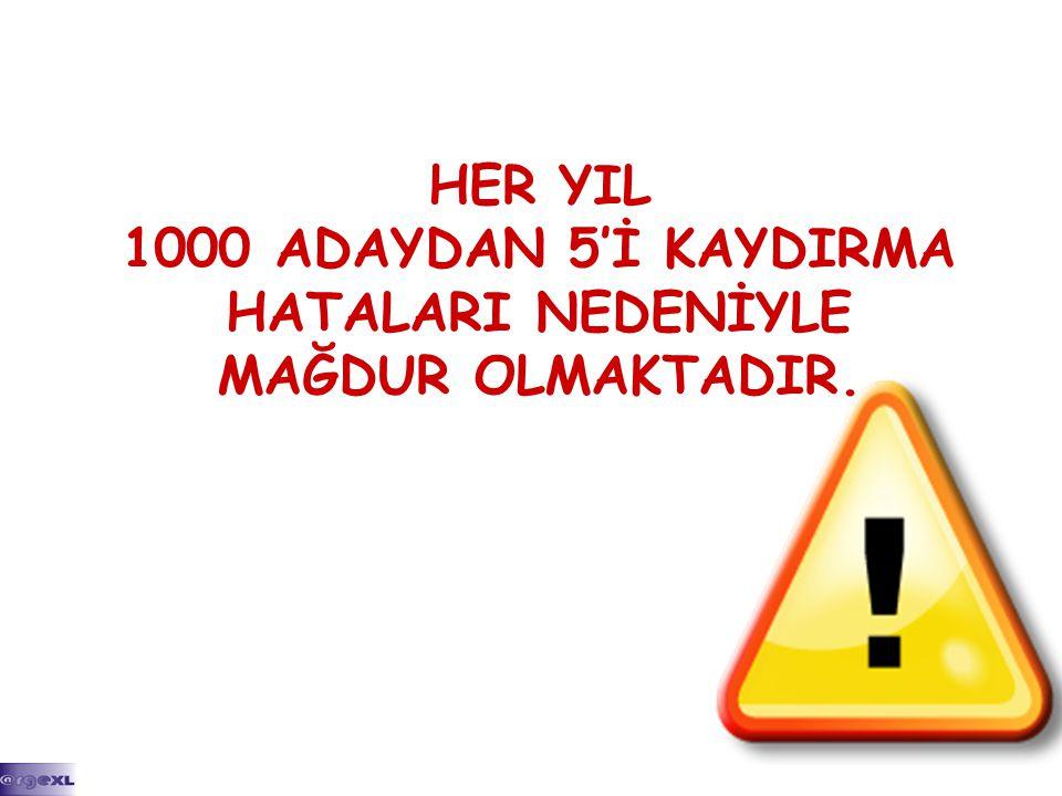 HER YIL 1000 ADAYDAN 5'İ KAYDIRMA HATALARI NEDENİYLE MAĞDUR OLMAKTADIR.